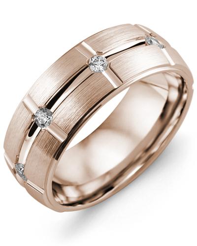 Men's & Women's Rose Gold + 8 Diamonds 0.40ct Wedding Band
