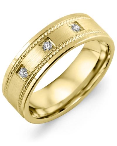 Men's & Women's Yellow Gold + 3 Diamonds 0.06ct Wedding Band 10K 7mm