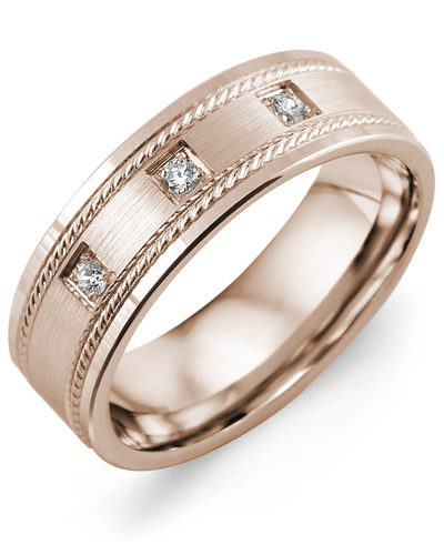 Men's & Women's Rose Gold + 3 Diamonds 0.06ct Wedding Band