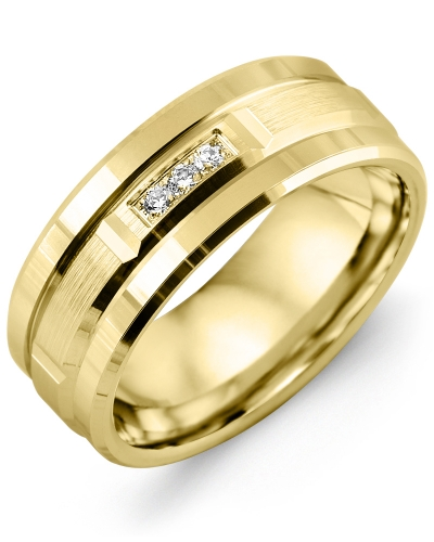 Men's & Women's Yellow Gold + 3 Diamonds 0.06ct Wedding Band