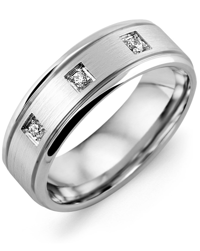 Men's & Women's White Gold + 3 Diamonds tcw. 0.09 Wedding Band from MADANI Rings. Wedding bands, fashion rings, promise rings, made of Tungsten, Ceramic, Cobalt, and Gold. View the collection at madanirings.com