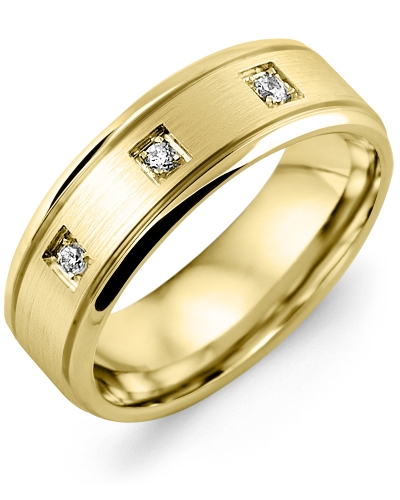 Men's & Women's Yellow Gold + 3 Diamonds 0.09ct Wedding Band 18K 6mm