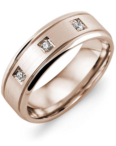 Men's & Women's Rose Gold + 3 Diamonds 0.09ct Wedding Band