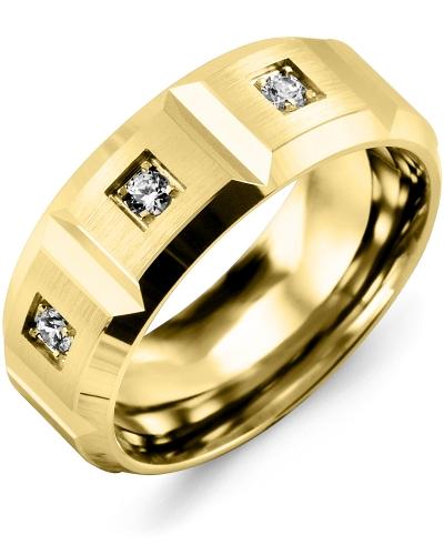 Men's & Women's Yellow Gold + 3 Diamonds 0.15ct Wedding Band