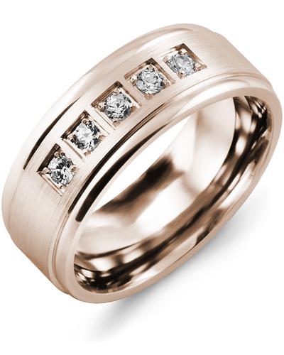Men's & Women's Rose Gold + 5 Diamonds 0.25ct Wedding Band
