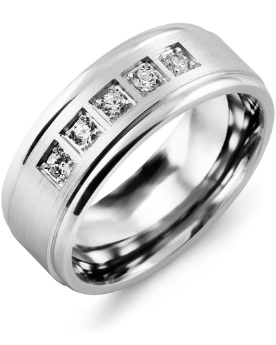Men's & Women's White Gold + 5 Diamonds tcw 0.25 Wedding Band from MADANI Rings. Wedding bands, fashion rings, promise rings, made of Tungsten, Ceramic, Cobalt, and Gold. View the collection at madanirings.com