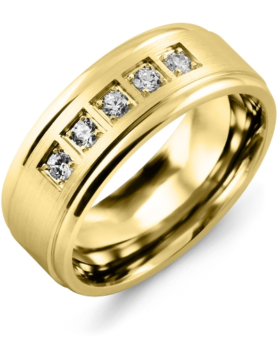 Men's & Women's Yellow Gold + 5 Diamonds 0.25ct Wedding Band