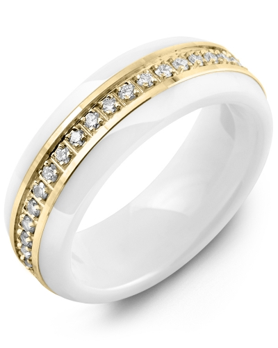 Men's & Women's White Ceramic & Yellow Gold + 15 Diamonds tcw 0.15 Wedding Band