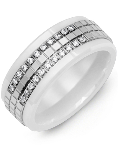 Men's & Women's White Ceramic & White Gold + 22 Diamonds 0.22ct Wedding Band