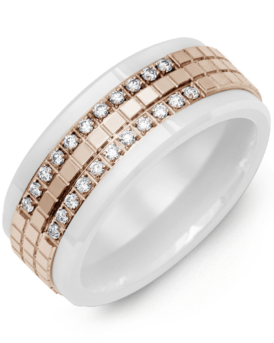 Men's & Women's White Ceramic & Rose Gold + 22 Diamonds 0.22ct Wedding Band