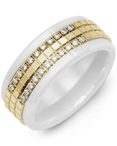 Men's & Women's White Ceramic & Yellow Gold + 22 Diamonds 0.22ct Wedding Band