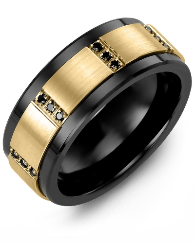 Men's & Women's Black Ceramic & Yellow Gold + 12 Black Diamonds tcw 0.12 Wedding Band 10K 7mm