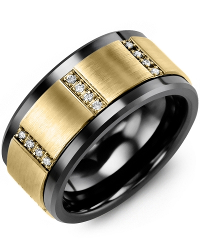 Men's & Women's Black Ceramic & Yellow Gold + 12 Diamonds tcw 0.12 Wedding Band 10K 11mm