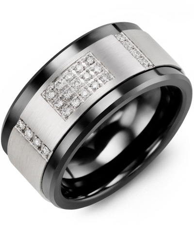 Men's & Women's Black Ceramic & White Gold + 31 Diamonds 0.31ct Wedding Band