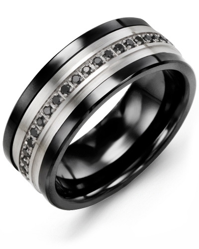 Men's & Women's Black Ceramic & White Gold + 21 Black Diamonds 0.21ct Wedding Band