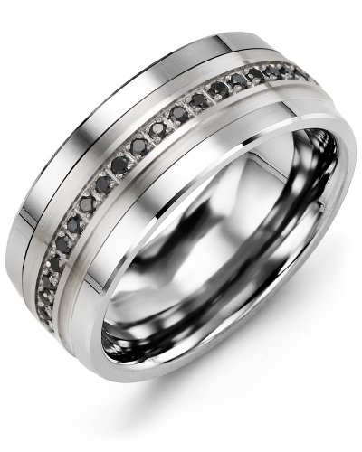 Men's & Women's Cobalt & White Gold + 21 Black Diamonds tcw 0.21 Wedding Band