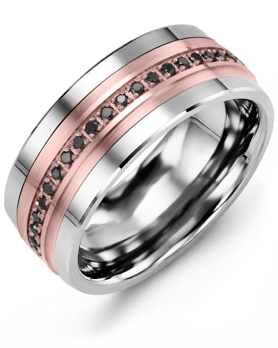 Men's & Women's Cobalt & Rose Gold + 21 Black Diamonds 0.21ct Wedding Band