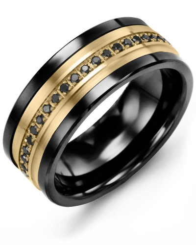 Men's & Women's Black Ceramic & Yellow Gold + 21 Black Diamonds 0.21ct Wedding Band
