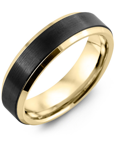 Men's & Women's Yellow Gold & Black Ceramic Wedding Band