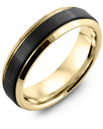 Men's & Women's Yellow Gold & Black Ceramic Wedding Band 10K 6mm