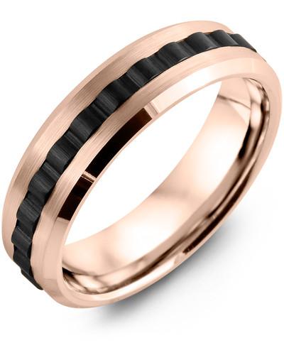 Men's & Women's Rose Gold & Black Ceramic Wedding Band 10K 7mm