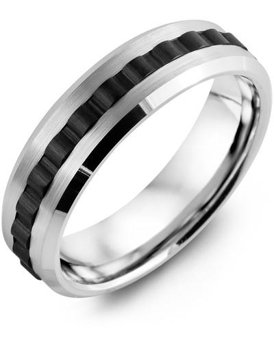 Men's & Women's White Gold & Black Ceramic Wedding Band 10K 7mm