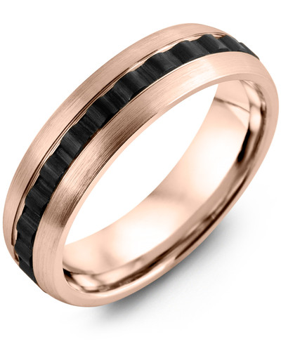 Men's & Women's Rose Gold & Black Ceramic Wedding Band from MADANI Rings. Wedding bands, fashion rings, promise rings, made of Tungsten, Ceramic, Cobalt, and Gold. View the collection at madanirings.com