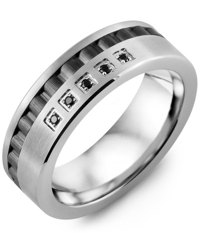 Men's & Women's White Gold & Black Ceramic + 5 Black Diamonds 0.05ct Wedding Band