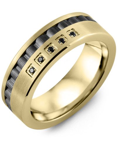 Men's & Women's Yellow Gold & Black Ceramic + 5 Black Diamonds 0.05ct Wedding Band from MADANI Rings. Wedding bands, fashion rings, promise rings, made of Tungsten, Ceramic, Cobalt, and Gold. View the collection at madanirings.com