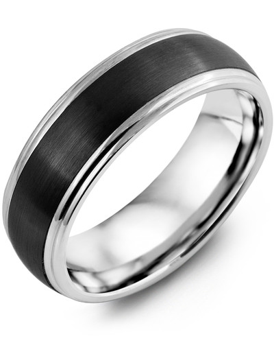 Men's & Women's White Gold & Black Ceramic Wedding Band 10K 7mm