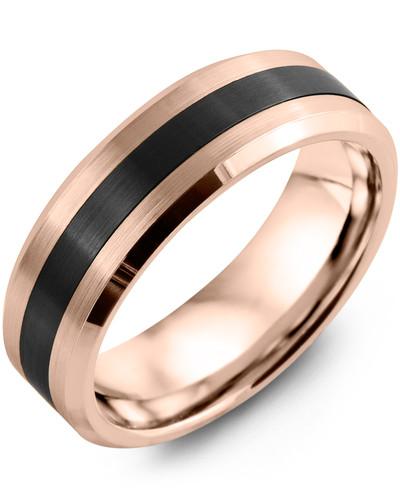 Men's & Women's Rose Gold & Black Ceramic Wedding Band 10K 6mm