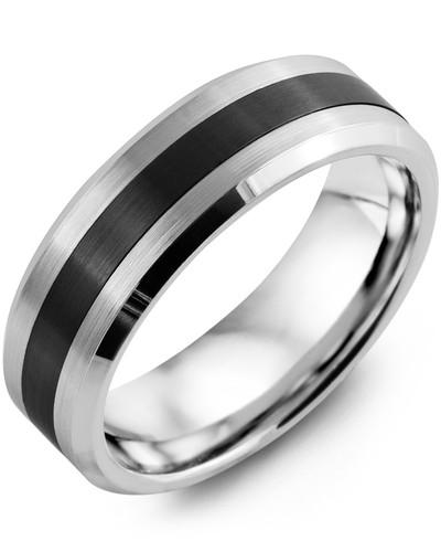 Men's & Women's White Gold & Black Ceramic Wedding Band 10K 6mm