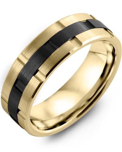 Men's & Women's Yellow Gold & Black Ceramic Wedding Band