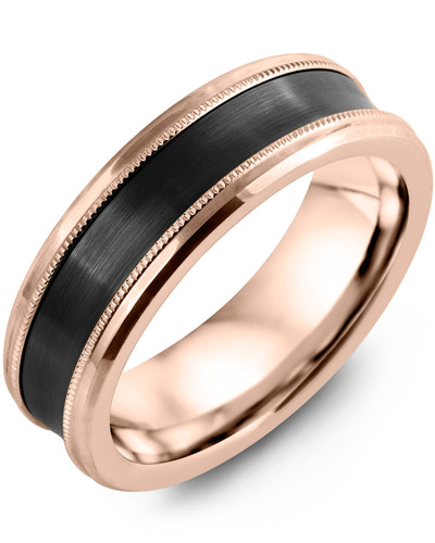Men's & Women's Rose Gold & Black Ceramic Wedding Band