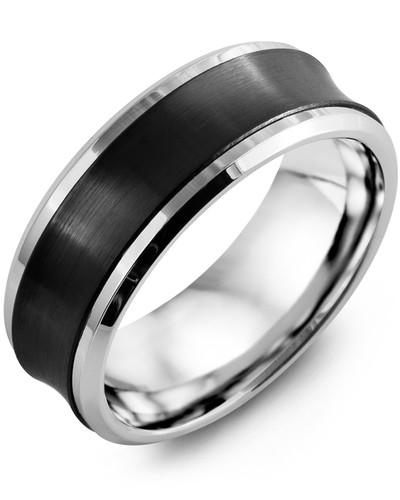 Men's & Women's White Gold & Black Ceramic Wedding Band 10K 8mm