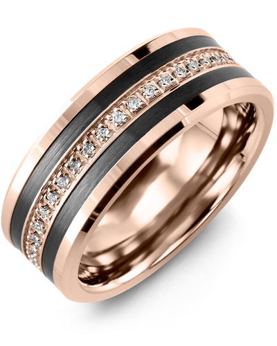 Men's & Women's Rose Gold & Black Ceramic + 21 Diamonds 0.21ct Wedding Band