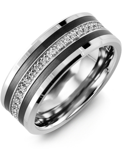 Men's & Women's White Gold & Black Ceramic + 21 Diamonds 0.21ct Wedding Band
