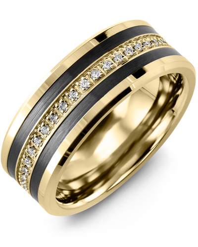Men's & Women's Yellow Gold & Black Ceramic + 21 Diamonds 0.21ct Wedding Band from MADANI Rings. Wedding bands, fashion rings, promise rings, made of Tungsten, Ceramic, Cobalt, and Gold. View the collection at madanirings.com