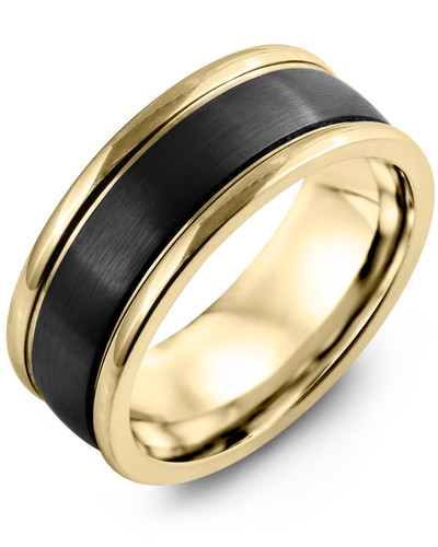 Men's & Women's Yellow Gold & Black Ceramic Wedding Band 10K 8mm