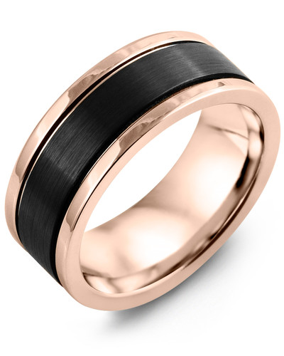 Men's & Women's Rose Gold & Black Ceramic Wedding Band 14K 9mm