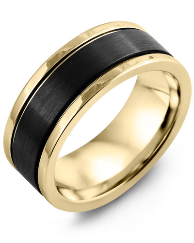 Men's & Women's Yellow Gold & Black Ceramic Wedding Band 10K 9mm