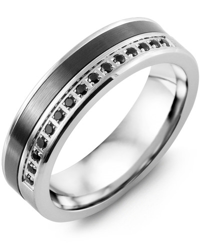 Men's & Women's White Gold & Black Ceramic + 15 Black Diamonds 0.15ct Wedding Band