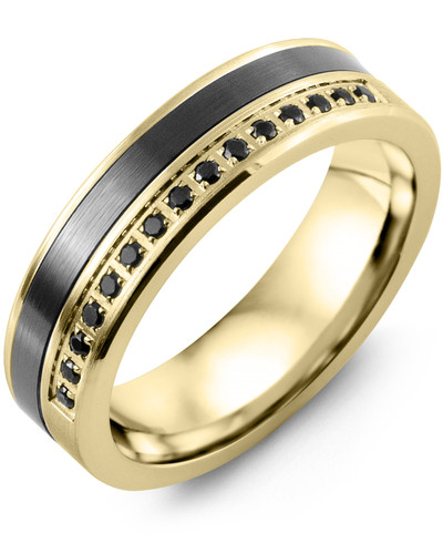 Men's & Women's Yellow Gold & Black Ceramic + 15 Black Diamonds 0.15ct Wedding Band 18K 6mm