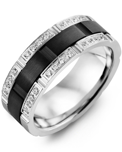 Men's & Women's White Gold & Black Ceramic + 24 Diamonds 0.24ct Wedding Band