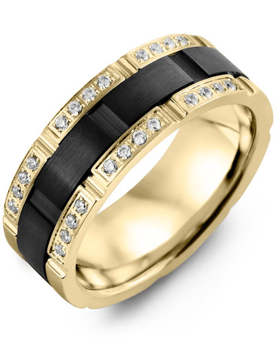 Men's & Women's Yellow Gold & Black Ceramic + 24 Diamonds 0.24ct Wedding Band