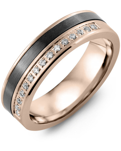 Men's & Women's Rose Gold & Black Ceramic + 15 Diamonds 0.15ct Wedding Band from MADANI Rings. Wedding bands, fashion rings, promise rings, made of Tungsten, Ceramic, Cobalt, and Gold. View the collection at madanirings.com