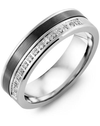 Men's & Women's White Gold & Black Ceramic + 15 Diamonds 0.15ct Wedding Band