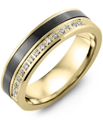 Men's & Women's Yellow Gold & Black Ceramic + 15 Diamonds 0.15ct Wedding Band
