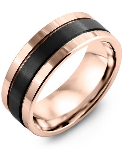 Men's & Women's Rose Gold & Black Ceramic Wedding Band 10K 8mm