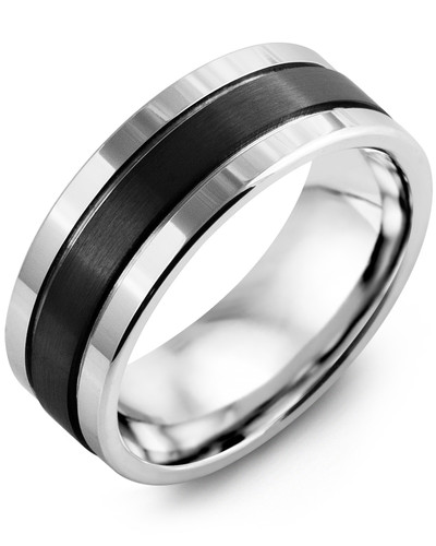 Men's & Women's White Gold & Black Ceramic Wedding Band